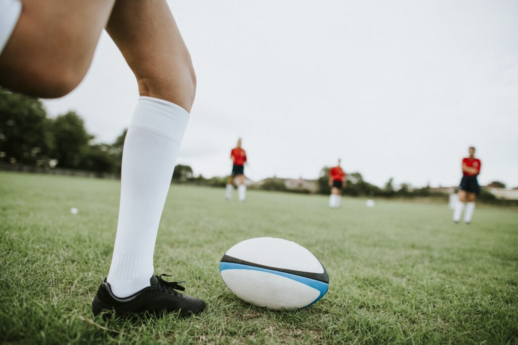 Female rugby players on the field